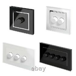 RetroTouch Crystal Glass Black White LED & Halogen Rotary Dimmer Light Switches