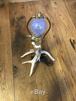 Rustic DEER ANTLER TABLE LAMP With Solid Copper Shade and Dimmer Switch