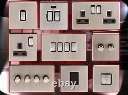 Screwless Satin Nickel Standard Or Led Dimmer Light Cooker Fan Switch Sockets