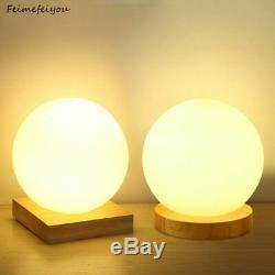Simple Table Glass Lamp Round Square Ball Warm Dimming Night LED Light Bedroom