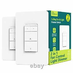 Smart Ceiling Fan Control and Dimmer Light Switch 2PACK, Neutral Wire Needed