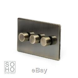 Soho Lighting Antique Brass 3 Gang 2 Way Trailing Edge LED Dimmer Switch 250W