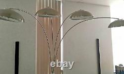 Steel, Aluminum Torchier, Brushed Crome Arc Floor Lamp with 4Saucer Dimmer Lights