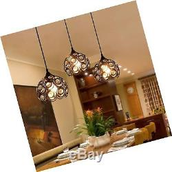 Surpars House Plug-in Crystal Pendant Light with 15' Cord, Dimmer Switch in C
