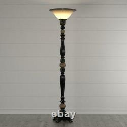 Tall Torchiere Floor Lamp Uplight, Dark Bronze Finish, Gold Accent, Foot Switch