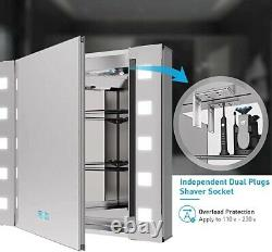 Tokvon Gondola led illuminated bathroom mirror cabinet with led dimmer Switch