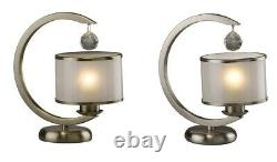 Traditional Crystal Table Lamp Round Oil lamp Glass Satin Nickel / Antique Brass
