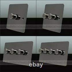 Trailing Edge Mains LED Dimmer Light Switch 250W 2 Way Black Nickel Flat
