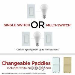 UltraPro White Z-Wave Plus Smart Light Dimmer Switch, in-Wall Paddles, 4 Pack
