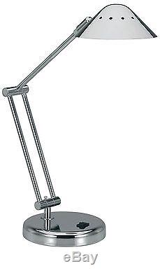 V-LIGHT Halogen Desk Lamp with 3-Point Adjustable Arm and Dimmer Switch Brush