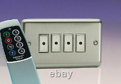 Varilight 4Gang 1Way Remote/Tactile Touch Control Master LED Dimmer Light Switch