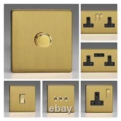 Varilight Screwless Brushed Brass DBB Light Switch Socket Dimmer Toggle Cooker