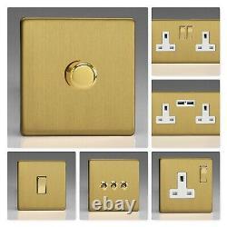 Varilight Screwless Brushed Brass DBW Light Switch Socket Dimmer Toggle Cooker