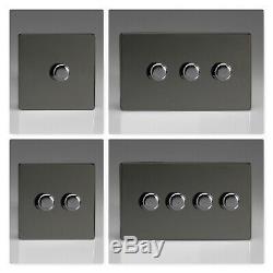 Varilight Screwless Iridium Black Polished LED & Halogen Dimmer Light Switches