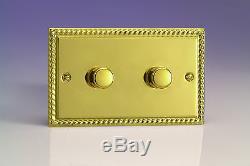 Varilight V-Com 2-Gang 2-Way Push-On/Off Rotary LED Dimmer Light Switch 2 x 20
