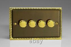Varilight V-Pro 4-Gang 2-Way Push-On/Off Rotary LED Dimmer Light Switch 4 x 0-10