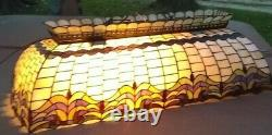 Vintage EXL Tiffany Style Leaded Stained Glass Hanging Pool Table Light Bar Lamp