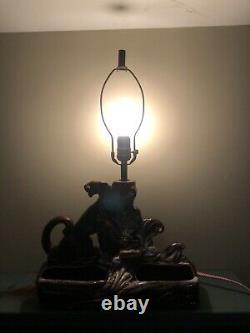 Vintage Panther Table Lamp Planter WORKS Brown MCM Mid Century RARE Jaguar Light