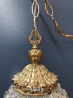 Vintage Pineapple Glass Hanging Swag Lamp Light With Dimmer Switch