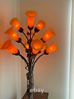 Vintage Tiffany Art Nouveau Style 12 light Lily Pad Lamp Base