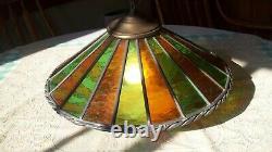 Vtg Mid Century Leaded Glass Swag Light Lamp 1960's era 16x9 WORKS
