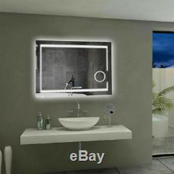 Wall Mounted Bathroom Mirror 3X Magnifying Backlit Dimmer LED Light Touch Switch