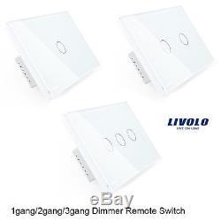 1-10 Pcs Livolo Led Light Touch Gradateur Interrupteur À Distance Ac110250v 1gang 2gang 3gang