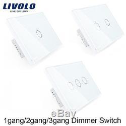1-10pcs Livolo Us / Au 1/2 / 3gang Mur Led Lumière Blanche Écran Tactile Interrupteur