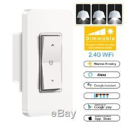 1/3/5 Interrupteur De Lumière Sans Fil Wifi Avec Variateur De Mur Intelligent Pcs Et Alexa Google Ifttt