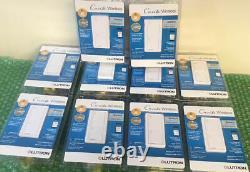 10 Lutron Caseta Wireless In-wall Light/fan Switch Pd-5ans-wh-r Blanc