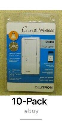 (10 Pcs) Lutron Caseta Wireless In-wall Light/fan Switch Pd-5ans-wh-r Blanc