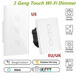 12pcs Smart Light Dimmer Wifi Interrupteur De Lumière 1 Gang Touch Control 400w Wall Mount