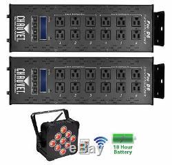 (2) Régulateur De Variateur Chauvet Pro-d6 115v / 230v + Batterie Sans Fil Pouvant Allumer