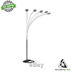 5 Bras Arche Lampadaire Salon Éclairage Gradateur Lampes Nickel 84