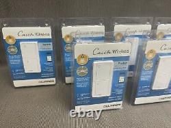 (6) Pc Lutron Caseta Wireless Switch Pd-5ans-wh-r Feux De Commande Ou Ventilateurs