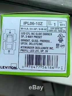Boîte De 10 Nouveau Leviton Blanc Preset Gradateur À Glissière Interrupteur 600w 3way Ipl06-10w