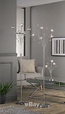 Dimmer De Chrome De Lampadaire Moderne De Fleur De 5 Lumières Légères En Ligne Allumant Des Ampoules