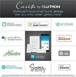 Gradateur D'éclairage Lutron Smart Wireless Avec Kit De Démarrage Mural, Blanc