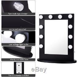 Hollywood Miroir Vanity Miroir Lumineux Tabletops Miroir Avec Gradateur Noir