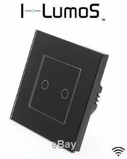 I Lumos Moderne, Cadre En Verre Noir, Interrupteurs Tactiles, Variateur De Lumière, Télécommande Et Wifi Led