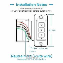 Interrupteur Mural Meross Wifi Intelligent Avec Variateur De Lumière 3 Voies Pour Éclairage À Del Dimmable