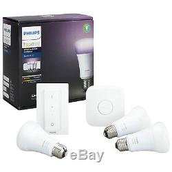 Kit Ampoule Led Intelligente Philips Hue A19 Avec Variateur De Luminosité Et 2 Google Home Mini