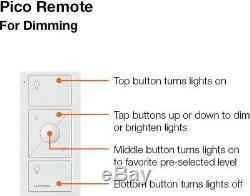 Kit De Démarrage Pour Éclairage Intelligent Sans Fil Lutron Avec Interrupteurs À 2 Variateurs Pico Remote, Blanc