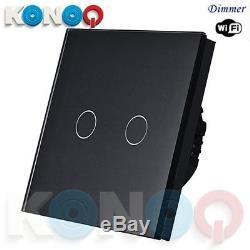 Konoq De Luxe Verre Panneau Tactile Led Interrupteur Wifi Dimmer, Noir, 2gang / 1way