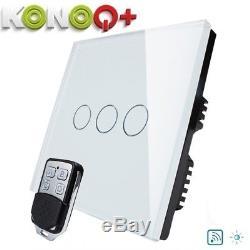 Konoq + Interrupteur Del Tactile À Panneau De Verre De Luxe Avec Dimmer À Distance, Blanc, 3gang / 1 Voie