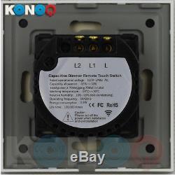 Konoq Luxe Interrupteur Verre Interrupteur Led Panneau Verre Remote Dimmer, Noir, 2gang / 1way