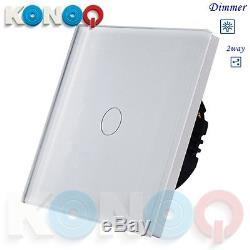 Konoq Luxe Verre Panneau Tactile Led Lumière Smart Switch Dimmer, Blanc, 1gang / 2way
