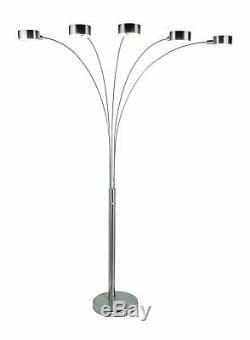 La Lampe De Plancher Moderne A Arqué Cinq Abat-jour Rotatoires De Commutateur De Gradateur De Salle De Séjour De Lumière