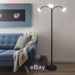 Lampadaire 3 Têtes, Lumière Led Avec Bras Réglables, Interrupteur Tactile Et Gradateur