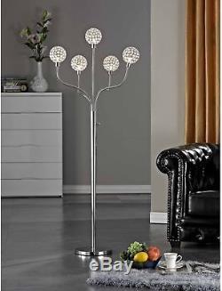 Lampadaire Moderne À 5 Ampoules En Cristal Avec Éclairage À La Maison